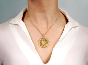 18k solid yellow gold lotus flower statement pendant
