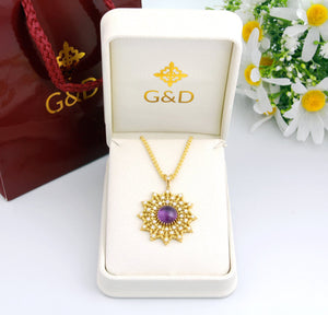 Vintage Amethyst Diamond Statement Pendant 18k Yellow Gold