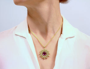 18K Gold Vintage Amethyst Statement Pendant with Diamonds