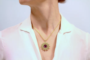 18K yellow Gold 16 inch spiga chain and amethyst pendant