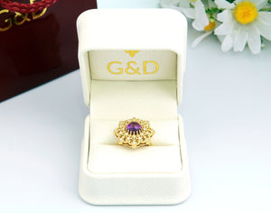 Amethyst Diamond 18K Gols Statement cocktail ring in a box, G&D unique designs jewelry