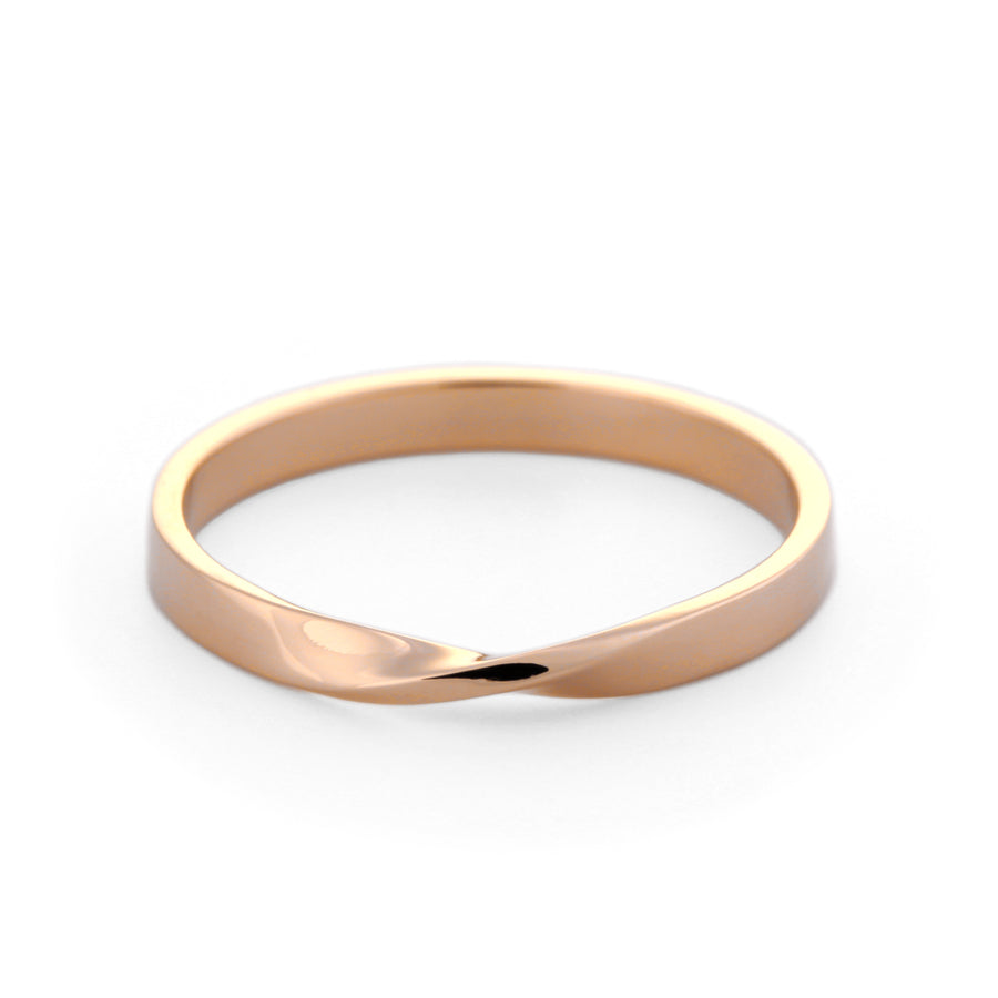 18k gold mobius ring, yellow gold, white gold, rose gold