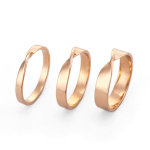 2mm, 3mm 4mm mobius wedding ring gold