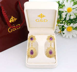 18k gold Statement Amethyst Diamond Hanging Earrings, Luxury fine jewelry