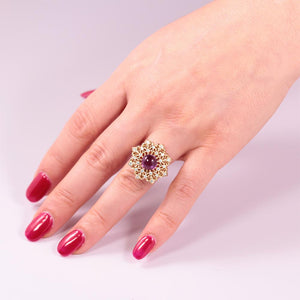 amethyst diamond 18k gold statement ring