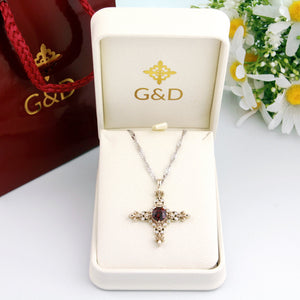 14k solid white gold diamond garnet cross statement pendant