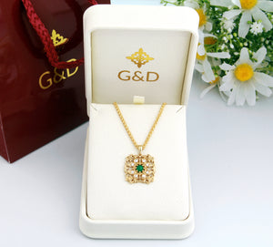 Natural Emerald Diamonds Pendant in 14K Gold