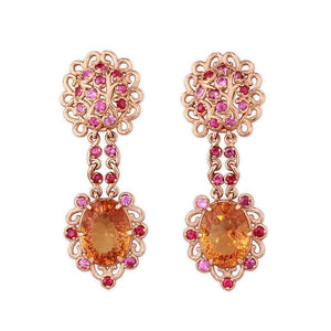 Opera Earrings in 14K Yellow Gold with Citrines and Pink Sapphires