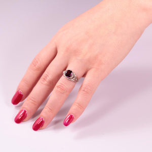 White Gold Fleur-de-lis Rhodolite Ring with Diamonds