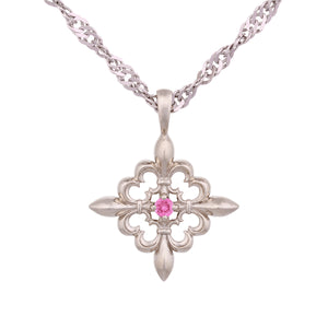 14K White Gold Pendant with Pink Tourmaline