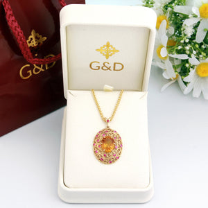 14K 18K Vintage Citrine Necklace pendant with Pink Sapphires