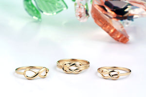 Infinity Rings, Infinity Knot Rings, Promise rings Gold