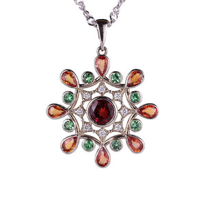 Cocktail 14K Solid White Gold Pendant with Diamonds Sapphires Garnet Tsavorites