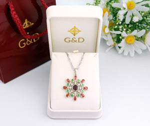"14K White Gold ""Bouquet D'Ete"" Pendant with Diamonds, Sapphires and Tsavorites"