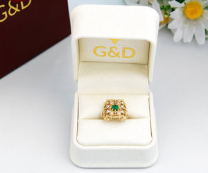 gold emerald ring with natural diamonds