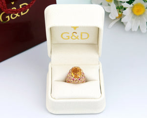 14K 18K Yellow Gold Handengraved luxury statement cocktail citrine sapphire ring