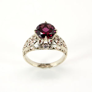 14k 18k white gold garnet engagement ring with diamonds in vintage style