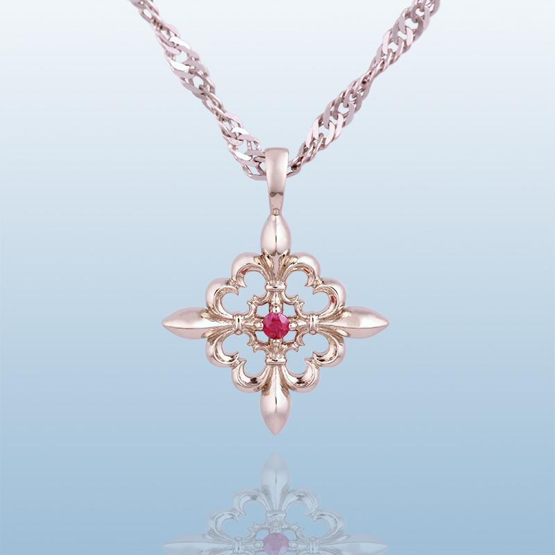 Gold Pendant with Hot Pink Sapphire