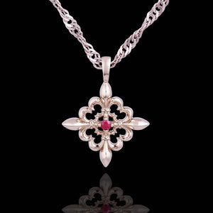 14K White Gold Pendant with Hot Pink Sapphire