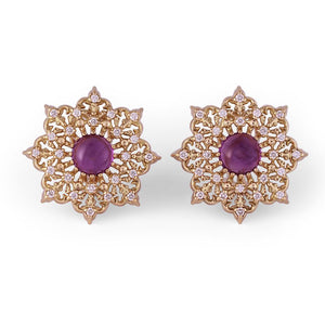 Amethyst Star Button Earrings in 18K Yellow Gold with Diamonds