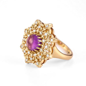 cocktail 18k gold statement amethyst ring with diamonds