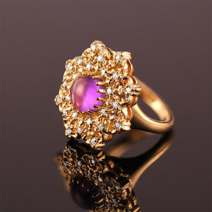 amethyst diamond cocktail ring in 18k yellow gold