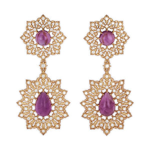 Amethyst Star Hanging Earrings in 18K Yellow Gold with Diamonds