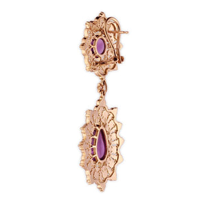 Amethyst Star Cocktail Hanging Earrings in 18K Yellow Gold with Diamonds
