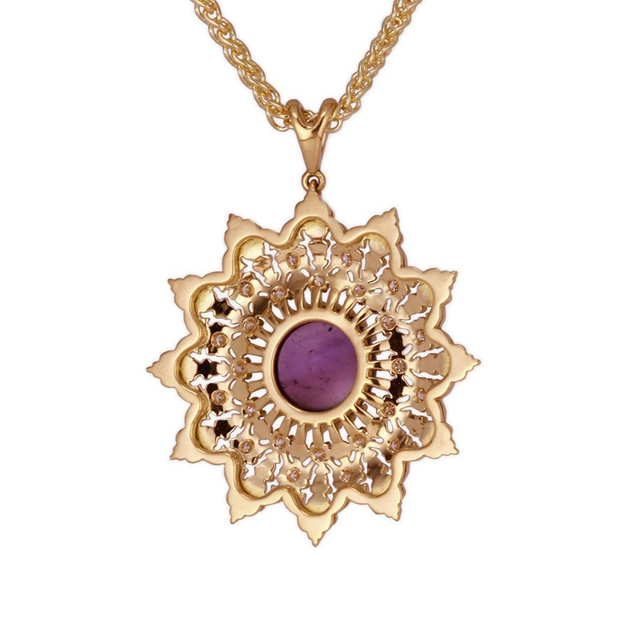 18K Gold Amethyst Diamonds Statement pendantt