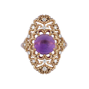 18K Gold Amethyst Ring with Diamonds