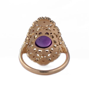 18K Solid Yellow Gold Ring with Amethyst and Diamonds