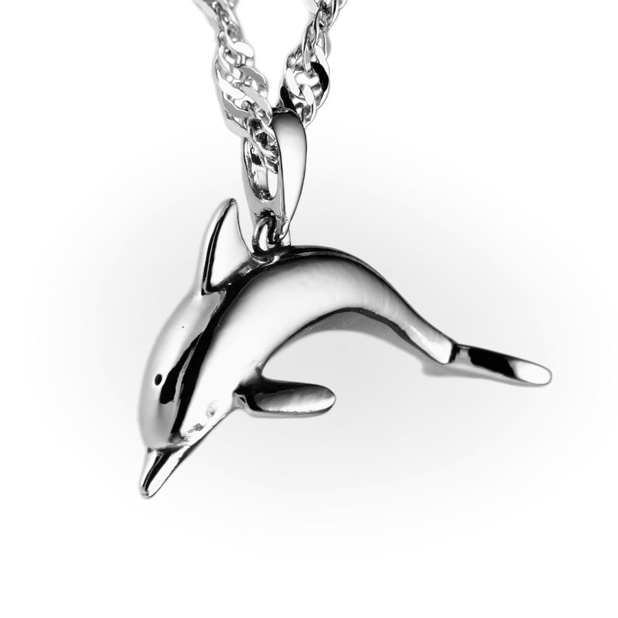 14K White Gold Dolphin pendant, dolphin Jewelry, mother's day Gift