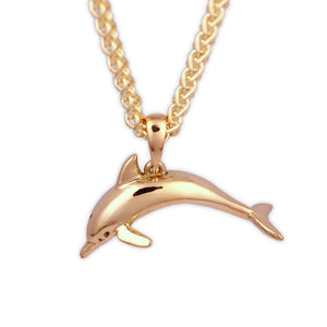 Gold Dolphin Pendant ocean jewelry, solid yellow gold 3d dolphin pendant on a chain