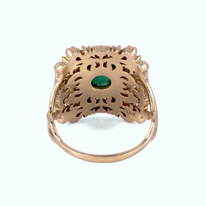 statement cocktail gold emerald ring with diamonds