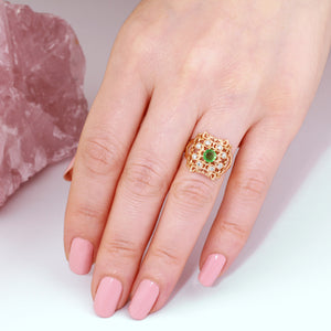 emerald ring gold, emerald diamond ring, emerald statement ring with diamonds