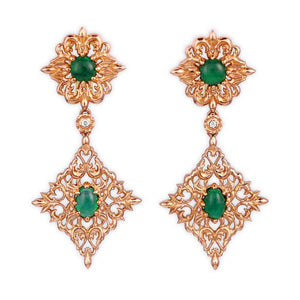Emerald Earrings in Yellow Gold with Diamonds