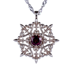 14k white gold garnet statement pendant with fleurdelis ornaments, january birthday gift