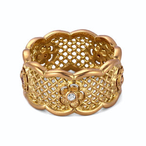 Yellow Gold Band Ring with Diamond FLower