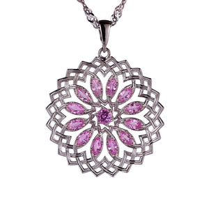 Lotus Sapphire Pendant in White Gold