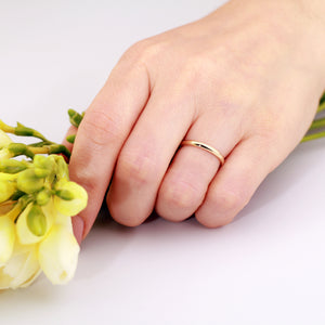 wedding ring, 2mm 14K Yellow Gold Dome Ring, wedding band