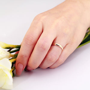 3mm wedding ring 14k yellow gold wedding band on hand