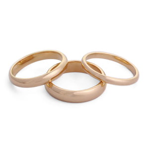 set of 18K Gold classic wedding bands 2mm, 3mm, 4mm