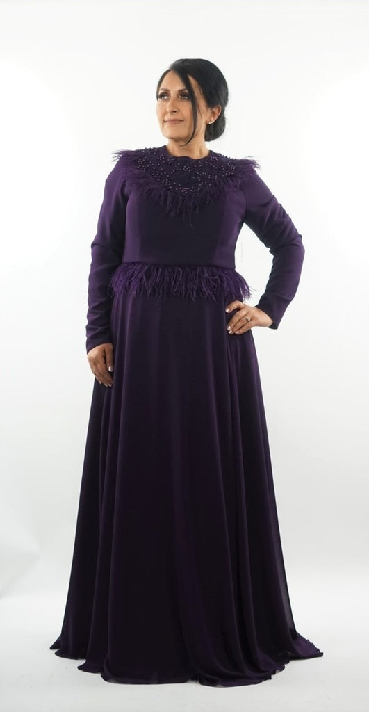 Purple long sleeved feather embellished maxi dress