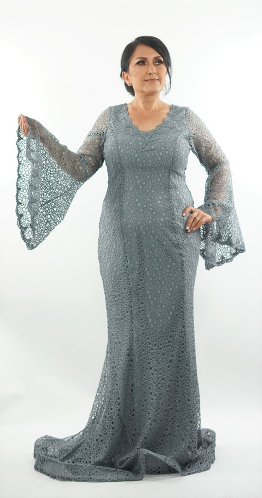 Grey maxi dress with flute sleeves