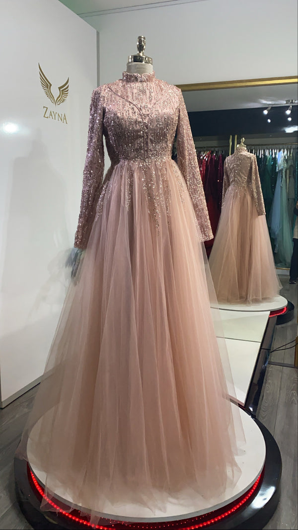 Shiny blush pink gown