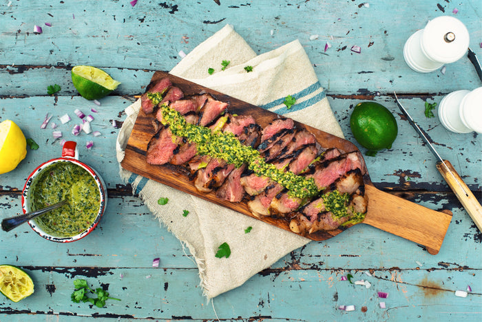 Manhattan striploin steaks with chimichurri sauce