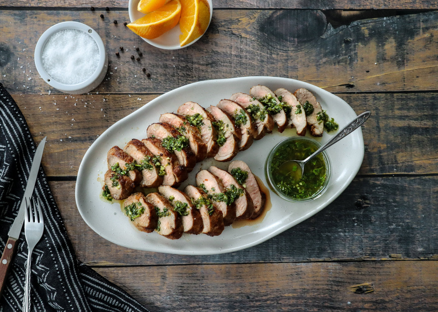 Orange and Cumin-Marinated Nagano Pork Tenderloin with Cilantro Sauce