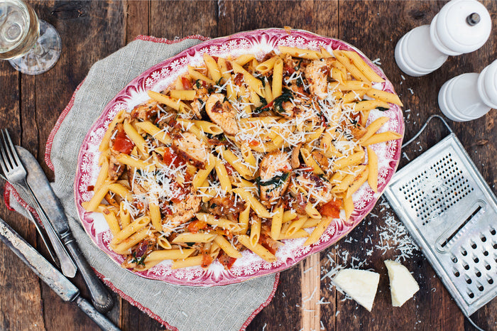 Creamy Penne with Chicken, Spinach and Sun-Dried Tomatoes