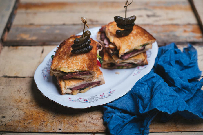 Grilled Cheese with Duck Breast, Bacon and Apples
