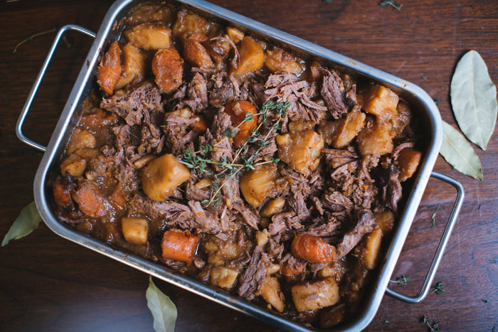 beef roast with carrots and potatoes